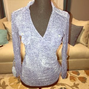 Navy-Blue Wrap Collared Blouse